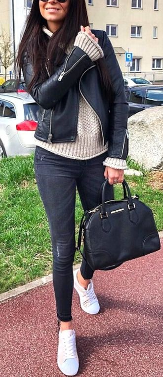 Adorable & Hot Outfit Idea - popular, attractive, leather, cute, jacket, elegance