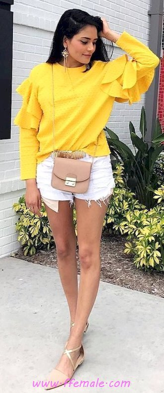 Adorable and pretty outfit idea - shorts, denim, photoshoot, attractive, shoes, lifestyle, yellow, handbag