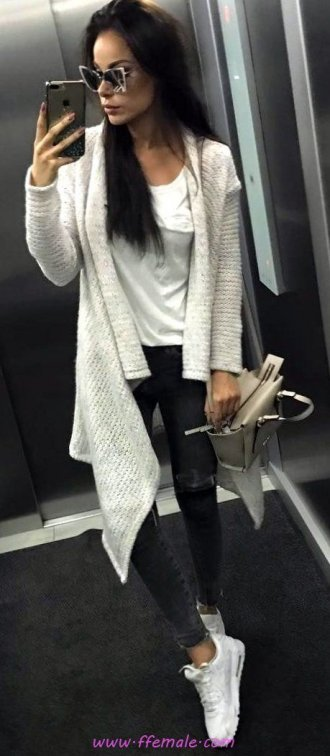 Best attractive and top wardrobe - cardigan, sneakers, female, elegance, sunglasses, white, handbag