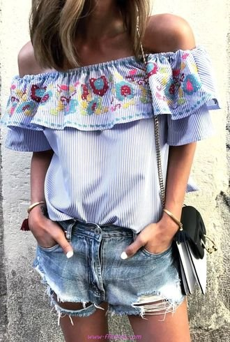 Best comfortable and pretty inspiration idea - fashion, bellsleeves, offshoulder