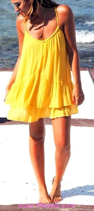 Best fashionable and lovely outfit idea - sundress, posing, attractive, lifestyle, stylish, yellow