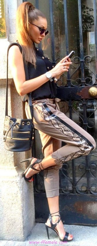 Best fashionable and perfect outfit idea - fashion, heels, pants, dressytank