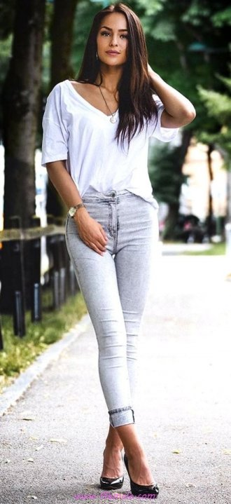 Best fashionable and super outfit idea - denim, gray, photoshoot, posing, lifestyle, heels, white
