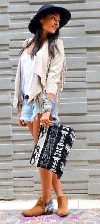 Best fashionable and top outfit idea - shorts, denim, hat, posing, lifestyle, handbag