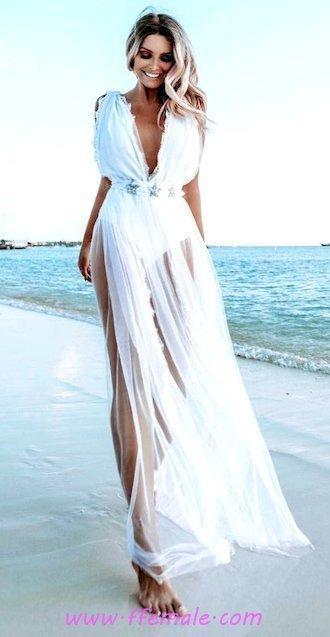 Best fashionable and wonderful - vneck, maxi, sundress, clothing, posing, style, white