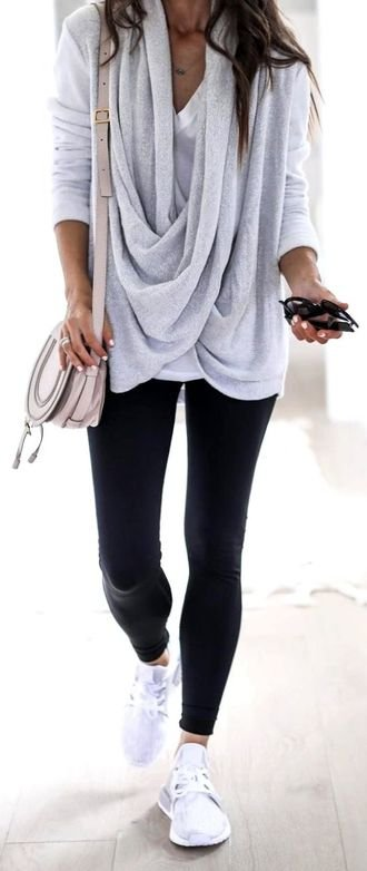 Best furnished and perfect outfit idea - gray, leggins, trainers, handbag