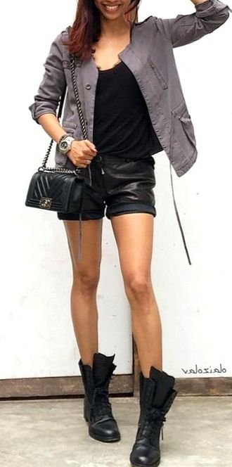 Best glamour and handsome wardrobe - tanktop, jacket, leather, black, handbag