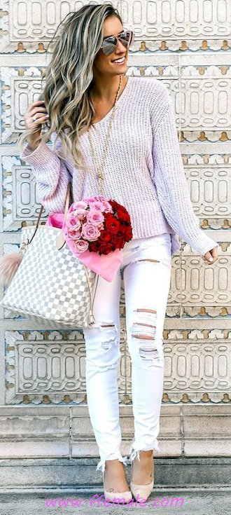 Best glamour and lovely inspiration idea - denim, pumps, fashionmodel, lifestyle, elegant, sunglasses, white, handbag