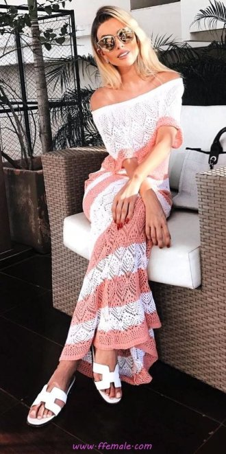 Best graceful and trendy look - offshoulder, sandals, lace, model, fashionmodel, style, sunglasses, pink, white