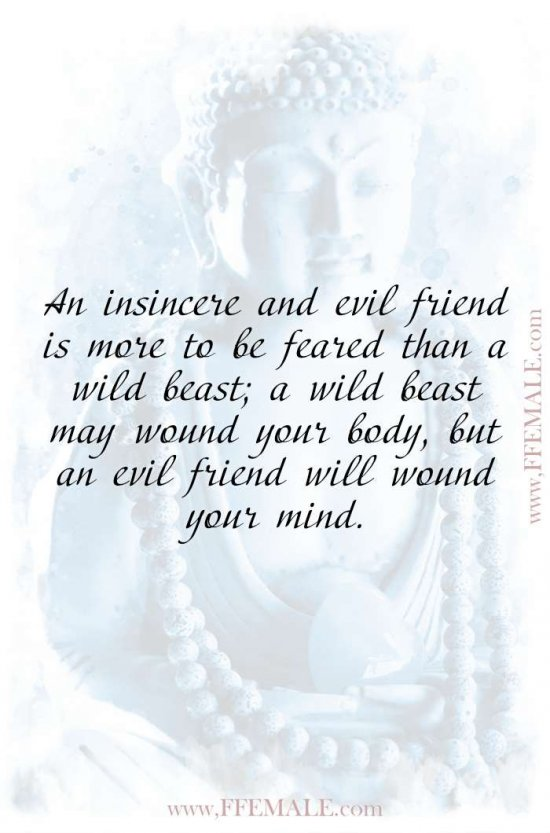 Top 100 Inspirational Buddha Quotes: Buddha - An insincere and evil friend is more to be feared than a wild beast; a wild beast may wound your body, but an evil friend will wound your mind #quotes #Buddha #deep #inspiration #motivation
