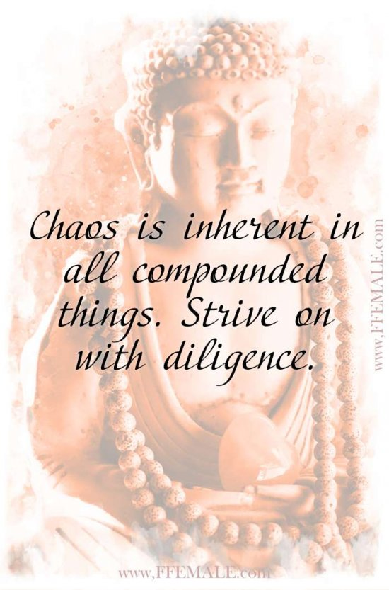 Top 100 Inspirational Buddha Quotes: Buddha - Chaos is inherent in all compounded things. Strive on with diligence #quotes #Buddha #deep #inspiration #motivation