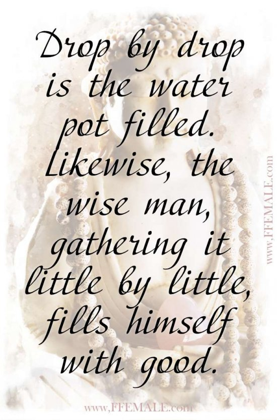 Top 100 Inspirational Buddha Quotes: Drop by drop is the water pot filled. Likewise, the wise man, gathering it little by little, fills himself with good #quotes #Buddha #deep #inspiration #motivation