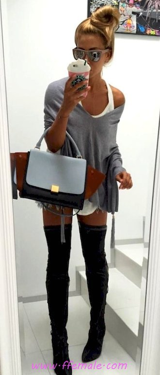 Classic and handsome wardrobe - gray, overknee, model, woman, sunglasses, handbag