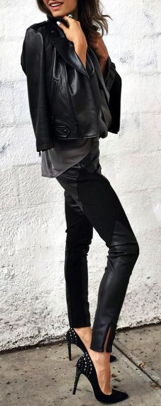 Comfortable & Hot Outfit Idea - popular, lifestyle, leather, dressy, elegance