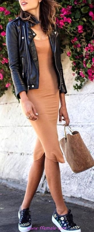Comfortable and lovely outfit idea - fashion, jacket, dress, sneakers