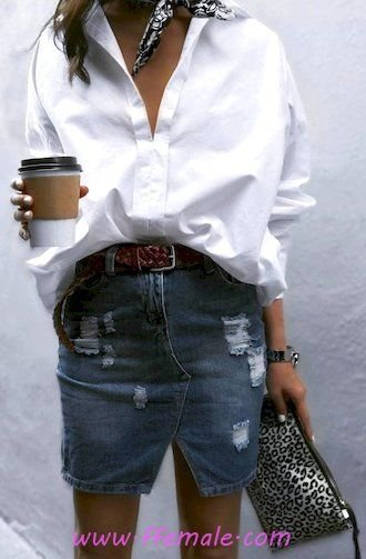 Elegant and super look - denim, shirt, white, blue, handbag