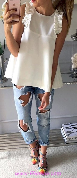 Elegant and top outfit idea - denim, female, posing, heels, style, white