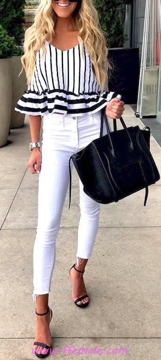 Elegant and wonderful outfit idea - denim, bellsleeves, striped, girl, heels, happy, white, handbag