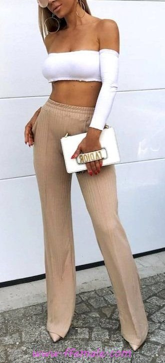 Fashionable and lovely inspiration idea - croptop, pants, photoshoot, white, handbag