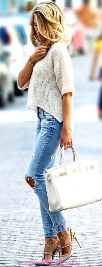 Finest - attractive and handsome outfit idea - denim, pumps, blue, handbag