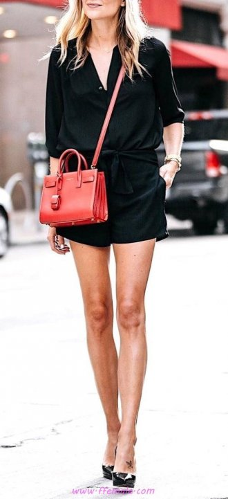 Finest - attractive and relaxed outfit idea - pumps, shirtdress, model, female, happy, stylish, black, handbag