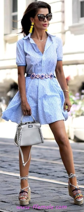 Finest - beautiful and handsome wardrobe - vneck, sundress, shoes, style, elegance, sunglasses, blue, handbag
