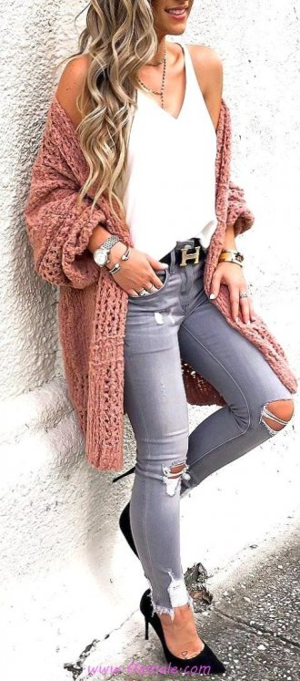 Finest - classic and relaxed inspiration idea - fashion, denim, vneck, sweater, pumps