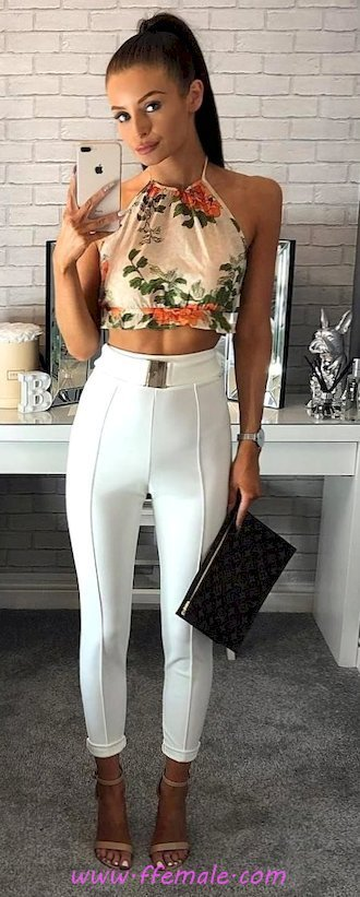 Finest - classic and shiny wardrobe - heels, floral, croptop, leggins, halter, model, posing, white, handbag