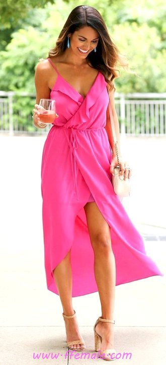 Finest - comfortable and handsome inspiration idea - vneck, maxi, sundress, clothing, heels, happy, pink, handbag
