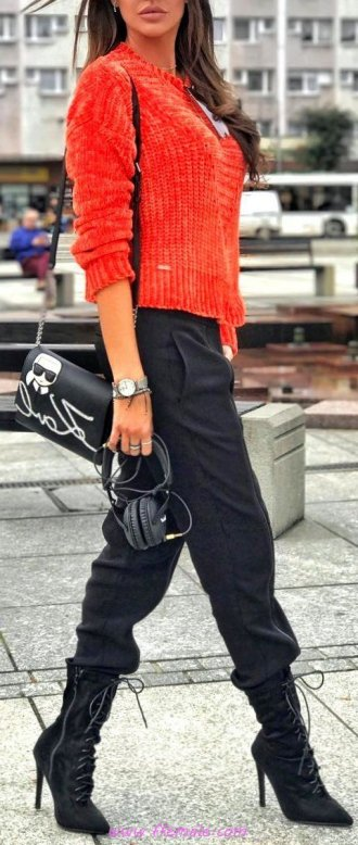 Finest - fashionable and lovely inspiration idea - fashion, red, black, pants, sweater