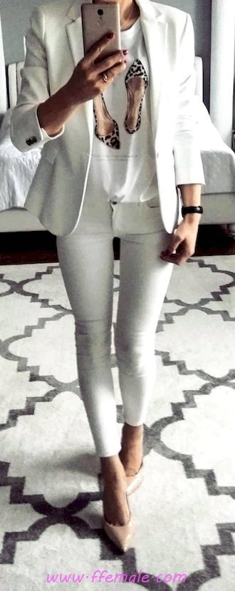 Finest - fashionable and super look - pumps, tshirt, female, posing, shoes, clothes, style, white, suit
