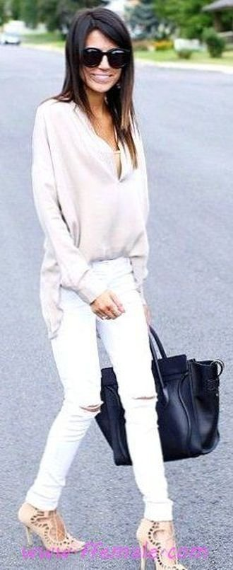 Finest - furnished and handsome outfit idea - heels, happy, sunglasses, handbag