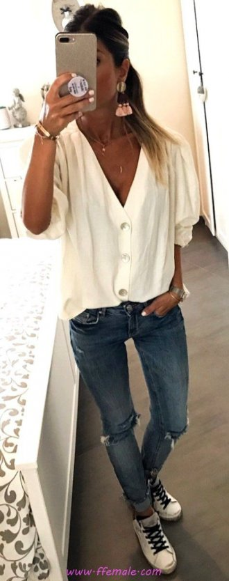 Finest - furnished and pretty outfit idea - denim, vneck, sneakers, white