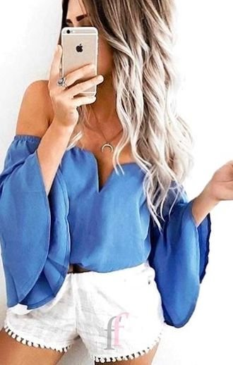 Outfit Ideas: finest - furnished and super outfit idea - ideas , bellsleeves, blue, offshoulder