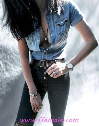 Finest - furnished and trendy outfit idea - denim, shirt, blue, accessories