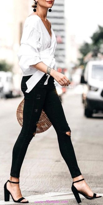Glamour and perfect inspiration idea - denim, heels, stylish, black, white