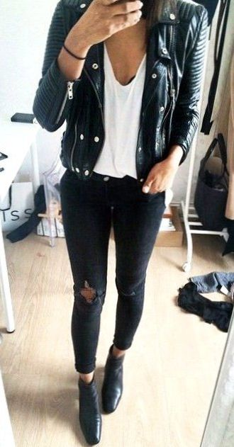 2dd9d8179c6 35 Top Casual Leather Jacket Outfit Ideas For Your Wardrobe ...
