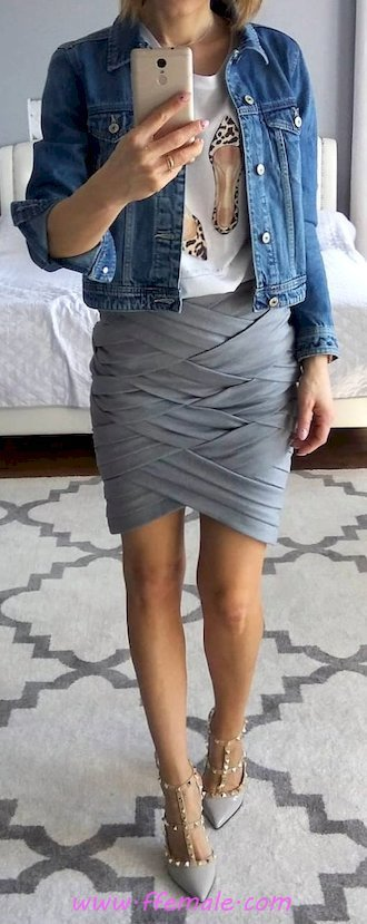 Graceful and perfect look - denim, gray, pumps, wearing, lifestyle, blue