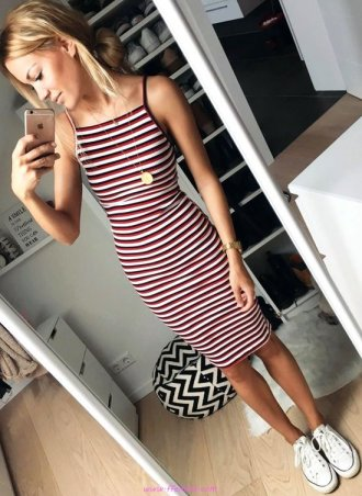 Hot outfit idea - striped, sneakers, posing, lifestyle, happy, elegance