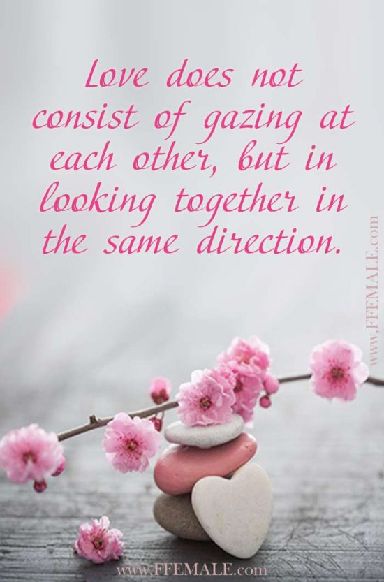 Best motivational love quotes: Love does not consist of gazing at each other, but in looking together in the same direction #quotes #love #passion #motivation #inspiration