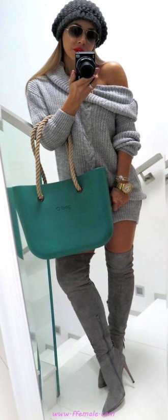 My adorable and relaxed outfit idea - hat, overknee, 1shoulder, female, posing, outerwear, sunglasses, handbag