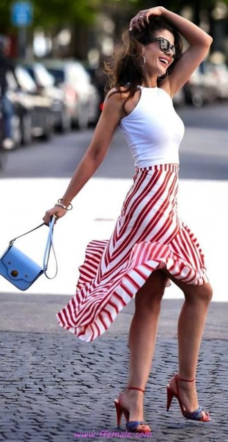 My attractive and simple inspiration idea - striped, female, attractive, lifestyle, happy, sunglasses, handbag