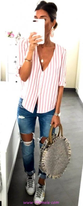 My attractive and super look - denim, striped, sneakers, photoshoot, handbag