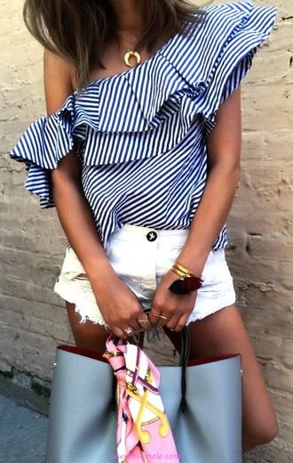 My classic and simple inspiration idea - fashion, blue, offshoulder