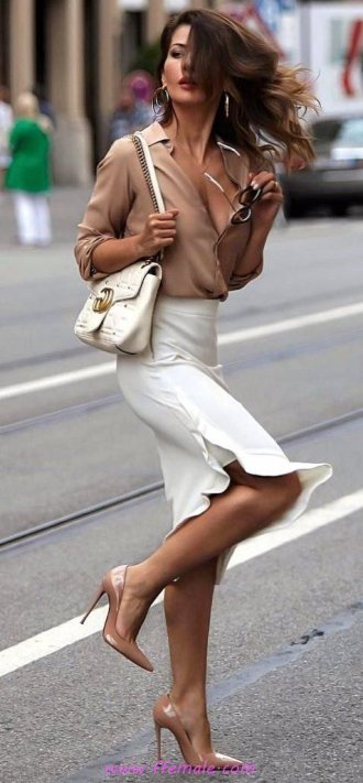 My furnished and relaxed outfit idea - model, photoshoot, posing, heels, white, handbag