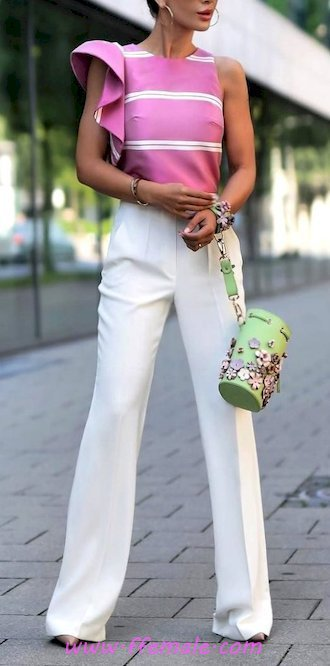 My relaxed outfit idea - striped, pants, pumps, pink, white, handbag, accessories