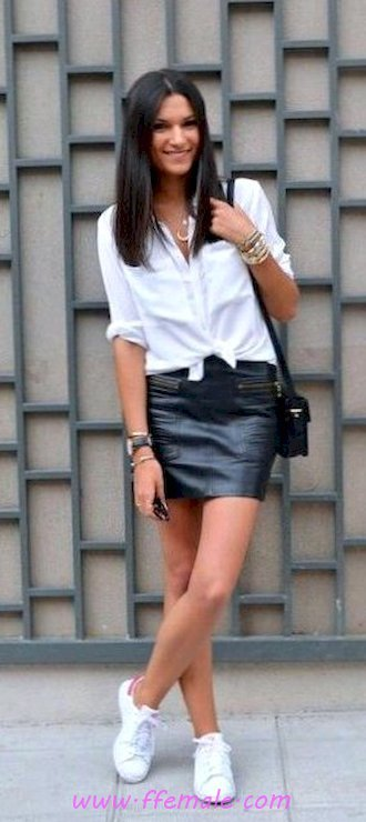 My super outfit idea - shirt, sneakers, leather, black, white, handbag