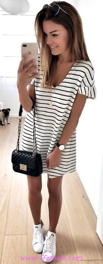 Pretty outfit idea - striped, sneakers, girl, shoes, shopping, handbag