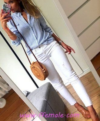 Summer Outfits My glamour and lovely inspiration idea - denim, striped, shirt, white, blue, handbag