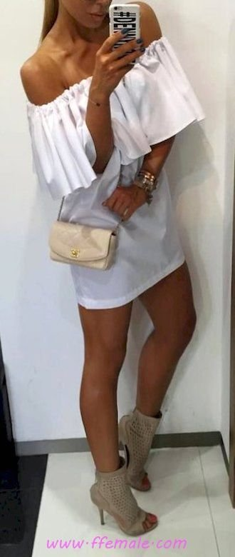 Summer Outfits Classic and super outfit idea - offshoulder, female, posing, shoes, white, handbag